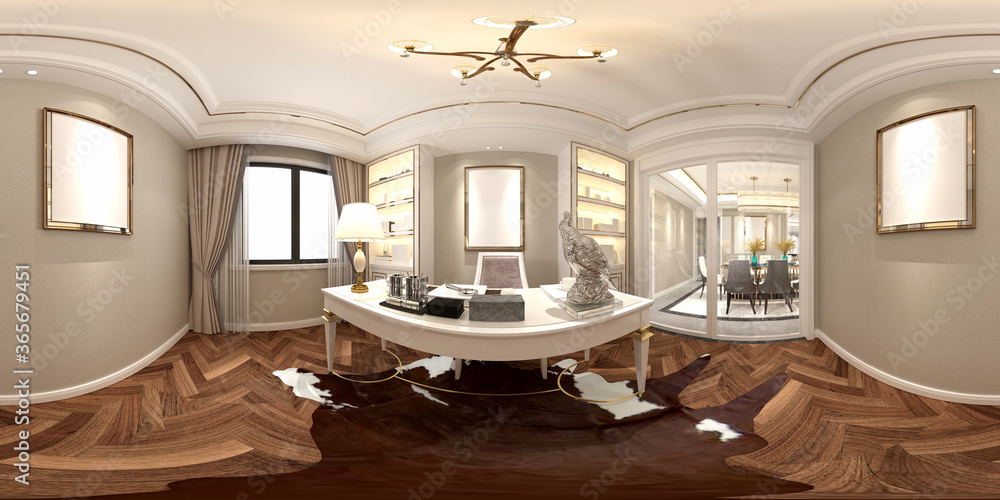 Fototapeta 3d render 360 degrees of modern office