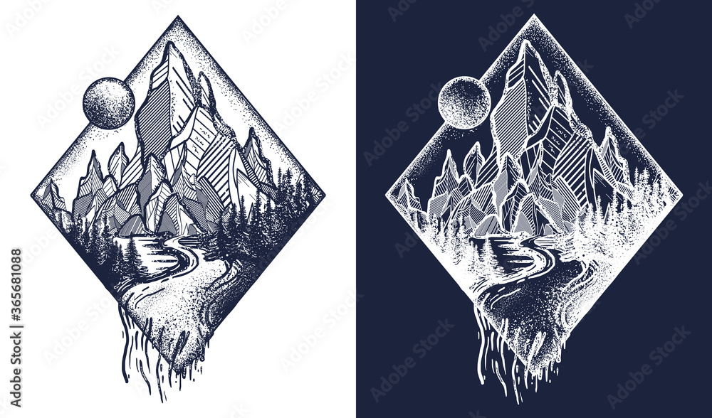 Fototapeta Mountain and river tattoo and t-shirt design. Meditation symbols, travel, tourism. Outdoors and tourism concept. Black and white vector graphics