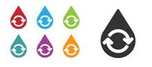 Black Recycle Clean Aqua Icon ...