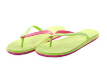 Pair Of Stylish Green Flip Flops Isolated On White. Beach Object