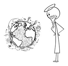 Vector Cartoon Stick Figure Drawing Conceptual Illustration Of Christian God Watching Violence And Wars On Surface Of Planet Earth.