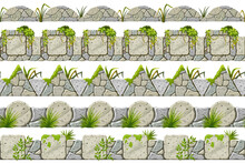 Set Of Seamless Old Gray Border With Liana Branches And Tropical Leaves. Vector Stone Sidewalks For Computer Games Isolated On White Background.