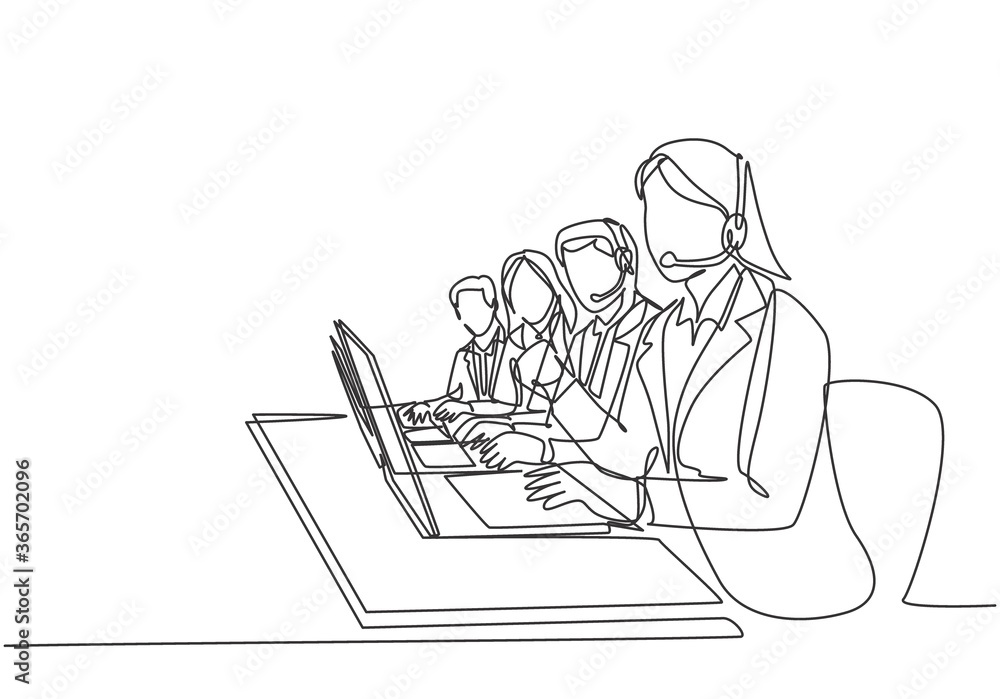 Fototapeta One continuous line drawing group of male and female call center team members answer complain phone call from clients kindly. Customer service concept single line draw design vector illustration