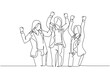 One continuous line drawing of young happy businesswomen prancing with joy at the meeting room together. Business teamwork celebration concept single line draw graphic design vector illustration