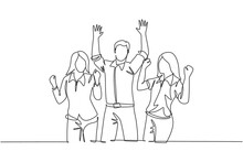 Single Continuous Line Drawing Of Young Happy Female And Male Workers Prancing With Joy At The Office Room Together. Business Teamwork Celebration Concept One Line Draw Design Vector Illustration