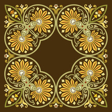 Vector Ethnic Abstract Flower Illustration