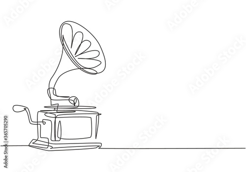 One continuous line drawing of old retro analog gramophone with vinyl desk Wallpaper Mural