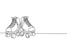 Single Continuous Line Drawing Pair Of Old Retro Plastic Quad Roller Skate Shoes. Vintage Classic Extreme Sport Concept One Line Draw Design Vector Illustration Graphic