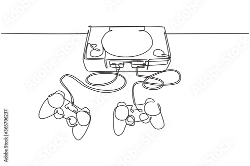 Foto One continuous line drawing of retro old classic arcade video game player with joystick