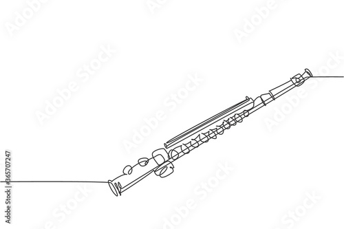 Leinwand Poster One continuous line drawing of classical flute