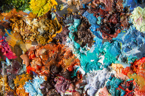 Fototapety, obrazy: Multicolored paint stains on palette for oil painting, art background