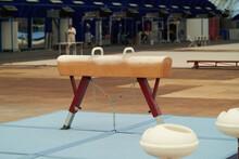 Sports Pommel Horse. Empty Gymnastics Apparatus