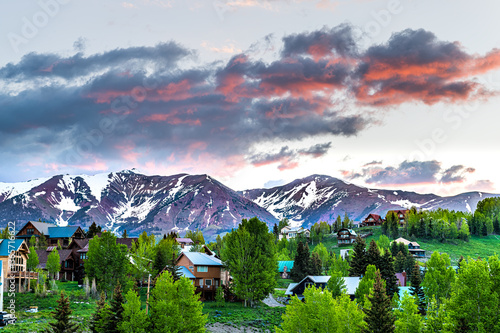 Valokuvatapetti Cityscape of Crested Butte village small mountain town in Colorado in summer wit