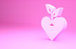 canvas print picture - Pink Heart icon isolated on pink background. First aid. Healthcare, medical and pharmacy sign. Minimalism concept. 3d illustration 3D render.