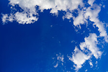 Clouds In Circle With Blue Free Space