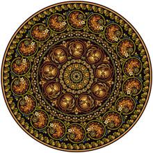Vector Ornament Vintage Ethnic Round Illustration