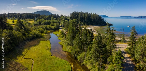 Canvas Print Aerial View of a Watershed on Lummi Island, Washington