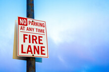 Fire Lane Sign. No Parking At ...