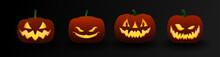 Set Of Halloween Dark Pumpkins...