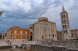Zadar/Croatia-June 25,2018: Beautiful Zadar city cathedral tower and the famous Church of St. Donatus, one of the most important Byzantine architecture monuments