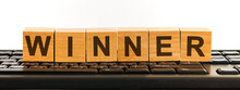 WINNER Word Written On Wood Bl...