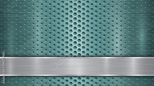 Fotografie, Tablou Background of light blue perforated metallic surface with holes and horizontal s