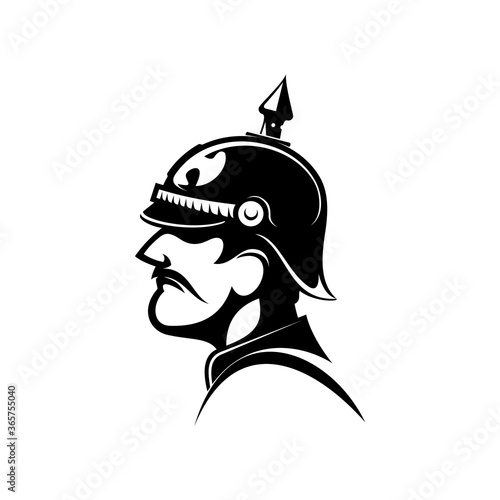 Brave general of prussian army in spiked helmet isolated side view head Canvas
