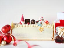 Santa White Log Cake With Cute...