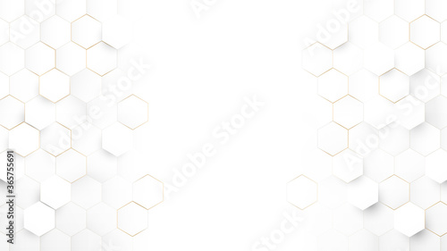Obraz Abstract Technology, Futuristic Digital Hi Tech Concept. Abstract White and Gold Hexagonal Background. Luxury White Pattern. Vector Illustration - fototapety do salonu