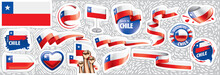 Vector Set Of The National Flag Of Chile In Various Creative Designs