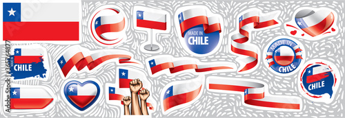 Fotografía Vector set of the national flag of Chile in various creative designs