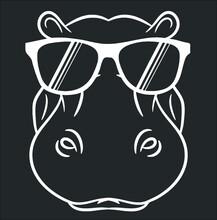 Hippopotamus T Shirt Cool And Cute Hippo W Sunglass (3) New Design Vector Illustrator