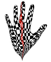Illustration Of Hand With Checkered Pattern Inside