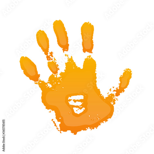 Fototapety, obrazy: Hand paint print 3D, isolated white background. Orange human palm and fingers. Abstract art design, symbol identity people. Silhouette child, kid, people handprint. Grunge texture. Vector illustration