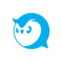 Owl Head Vector, Mascot Chat Logo