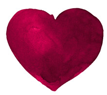 Burgundy Watercolor Heart Shap...