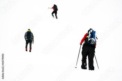 Trekking in harsh winter condition. Winter alpine landscape Canvas Print