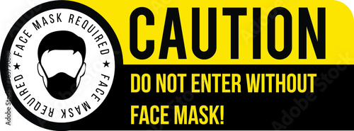 Leinwand Poster Face mask required sign