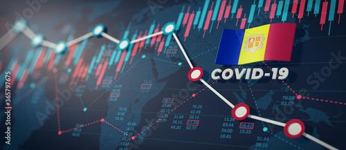 Fényképezés COVID-19 Coronavirus Andorra Economic Impact Concept Image.