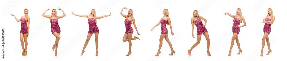 Fototapeta Young woman in strapless dress isolated on white