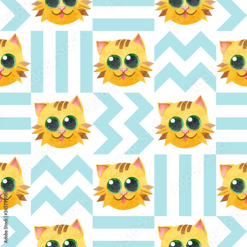 Seamless pattern with a funny yellow cat face. Creative Scandinavian children's texture. Watercolor illustrations on a geometric background. For fabric, textiles, websites, wallpaper, packaging, card.