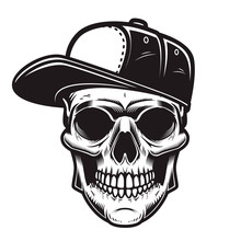 Illustration Of Skull In Baseb...
