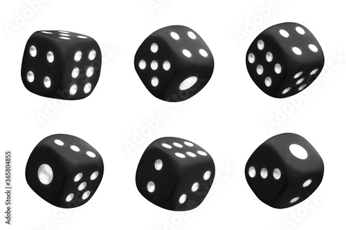 фотография Collection of black dices, isolated on white background