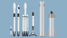 SpaceX Rocket Set Falcon 1 Falcon 9 Starship