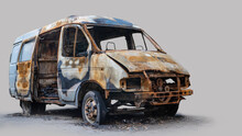 Burnt Out Delivery Van Isolate...