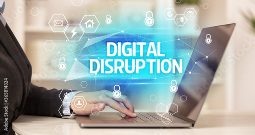 Fototapety, obrazy: DIGITAL DISRUPTION inscription on laptop, internet security and data protection concept, blockchain and cybersecurity