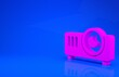 Pink Presentation, movie, film, media projector icon isolated on blue background. Minimalism concept. 3d illustration. 3D render.
