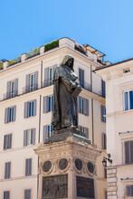 ROME, ITALY - 2014 AUGUST 18. Monument To Philosopher Giordano Bruno Statue In Campo De' Fiori.