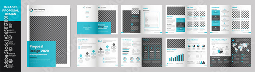 16 page Multipurpose Brochure template, simple style and modern layout, Elements Canvas Print