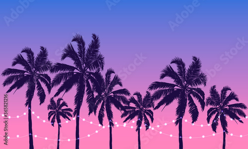 Fotografia Palm trees at sunset with garlands, vector art illustration.
